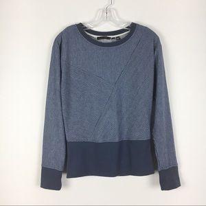 William Rast Blue Gray Striped Sweatshirt Top SZ M